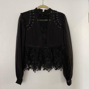 Self portrait black floral lace elegant top